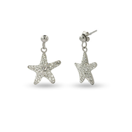 Sterling Silver Swarovski Crystal Starfish Earrings
