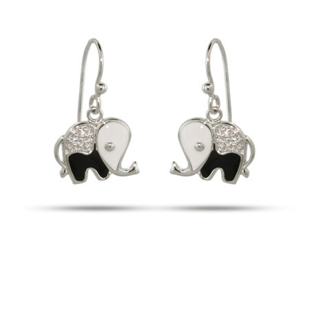 Black and White CZ Elephant Dangle Earrings