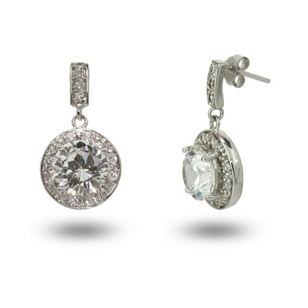 Eloises Stunning Round Brilliant Cut CZ Drop Earrings
