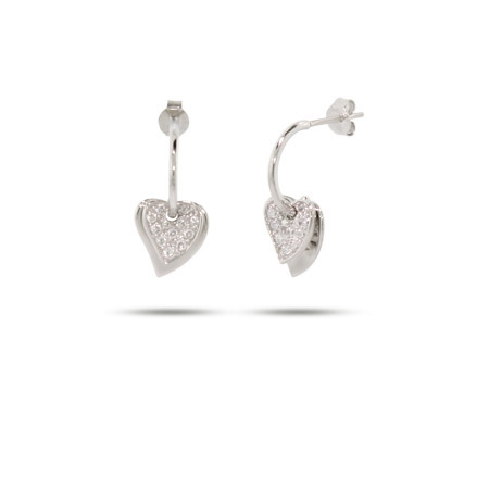 Sterling Silver Pave CZ Layered Heart Earrings