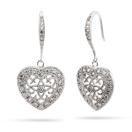Sterling Silver Victorian Style CZ Dangle Heart Earrings