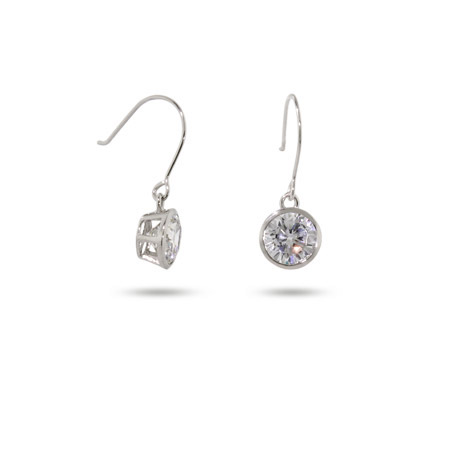 Tiffany Inspired Sparkling Bezel Drop Sterling Silver Earrings