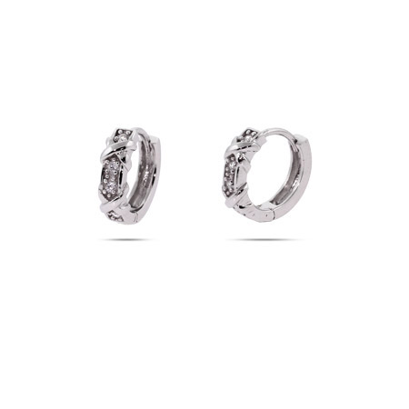 Tiffany Inspired Four Stone Huggy Earrings with Silver Xs