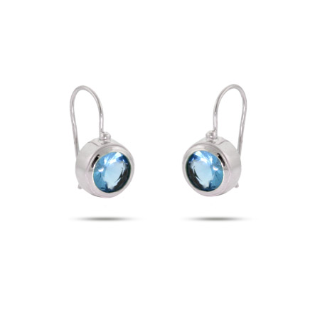 Radiant Topaz Bezel Set Sterling Silver Earrings