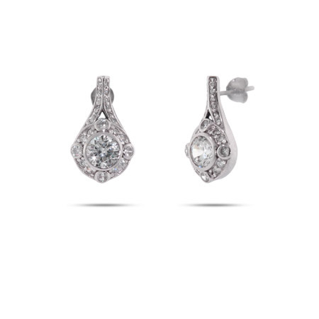 Vintage Glam CZ Sterling Silver Drop Earrings