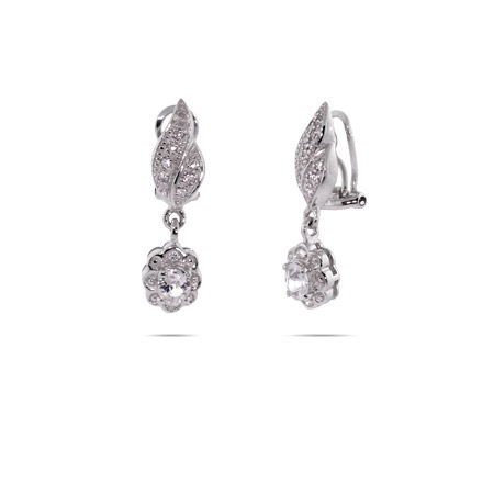 Pretty CZ Nature Leaf Dangle Clip-On Earrings