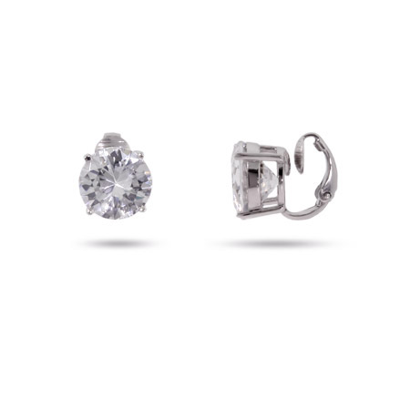 Stunning 5 Carat CZ Sterling Silver Clip-On Earrings