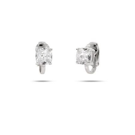 Sparkling Cushion Cut Diamond CZ Clip On Earrings