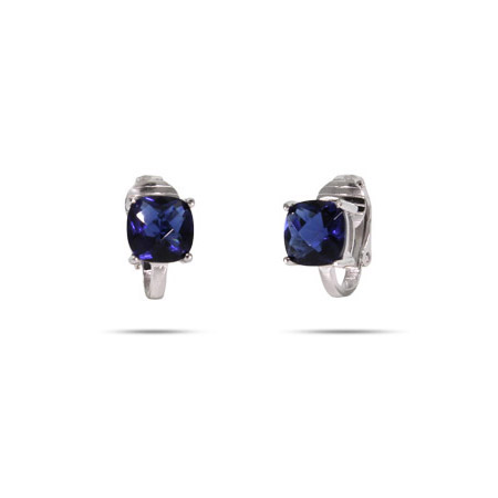 Sparkling Cushion Cut Sapphire CZ Clip-On Earrings