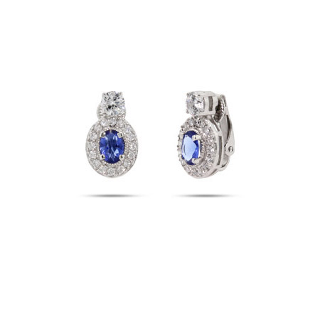 Sapphire CZ Oval Drop Sterling Silver Clip-On Earrings