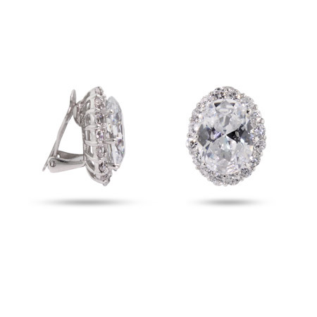 Glamorous Red Carpet Style Oval CZ Clip-On Earrings