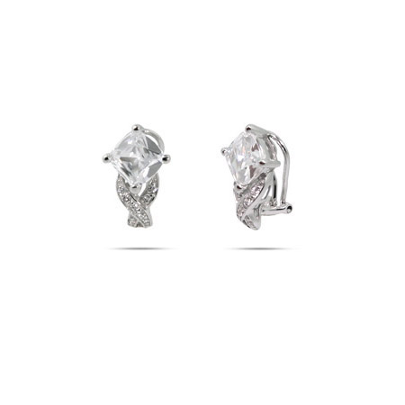 Sparkling Diamond Shape CZ Sterling Silver Clip On Earrings