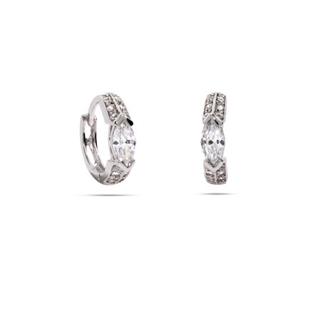 Sparkling Diamond Shape CZ Huggy Earrings
