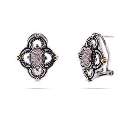 Designer Inspired Vintage Style Four Point CZ Earrings