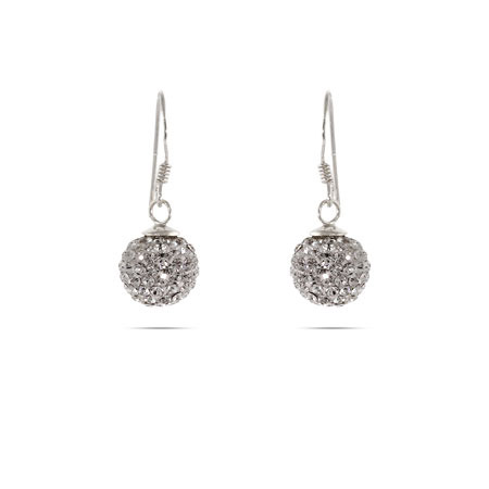 Sparkling Swarovski Crystal Sterling Silver Dangle Bead Earrings