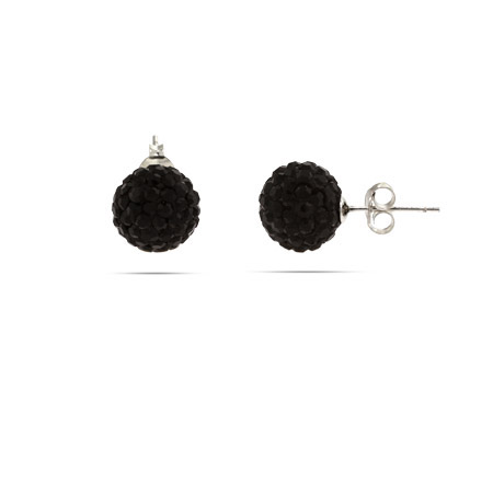 Pave Black Crystal Sterling Silver Ball Studs