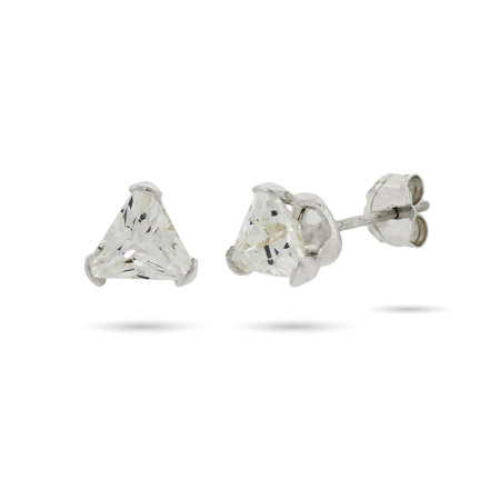 Triangle Shape Sterling Silver CZ Studs