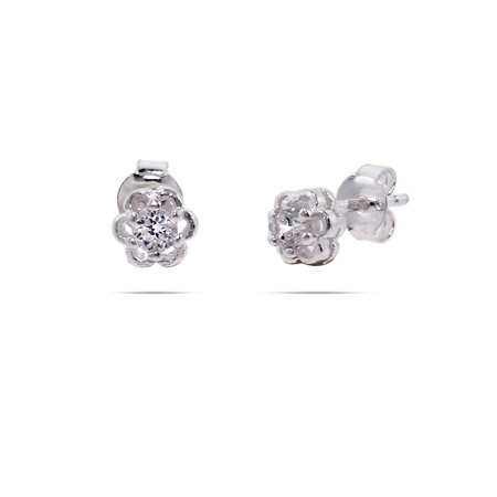 Petite Sterling Silver CZ Flower Stud Earrings