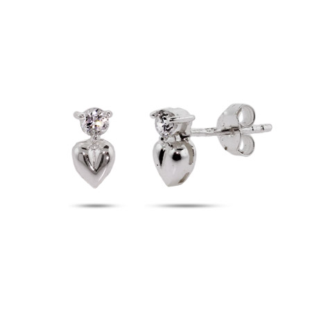 Petite CZ Heart Drop Sterling Silver Earrings