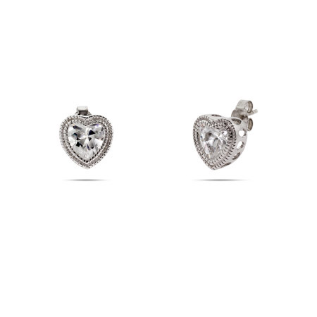 Sterling Silver Bezel Heart Set Cz Studs With Milgrain Edging