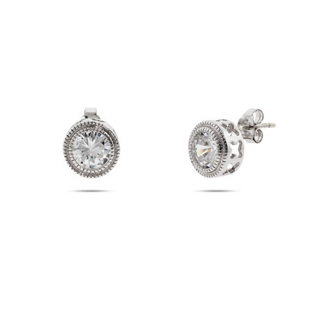 Sterling Silver Bezel set CZ Studs with Milgrain Edging