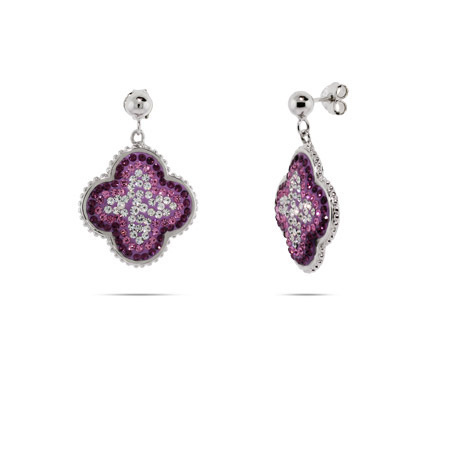 Sparkling Purple and Pink Swarovski Crystal Flower Earrings