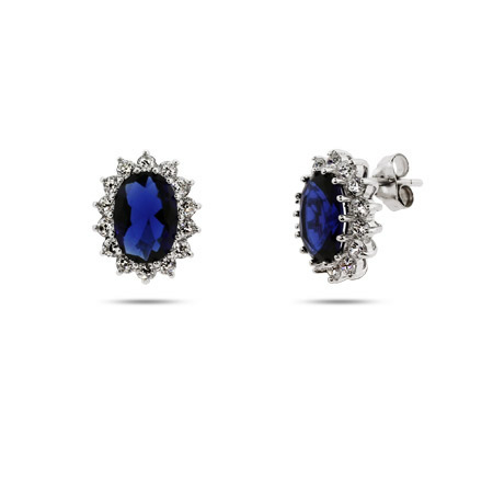 Princess Diana Replica Sapphire CZ Royal Earrings