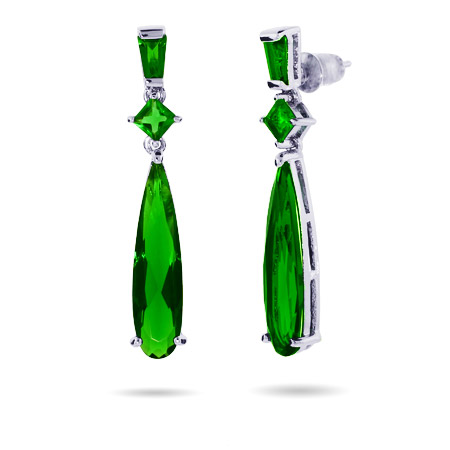 Angelina's Emerald CZ Pear Drop Dangle Earrings
