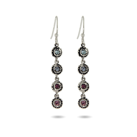 4 Stone Custom Birthstone Sterling Silver Dangle Earrings