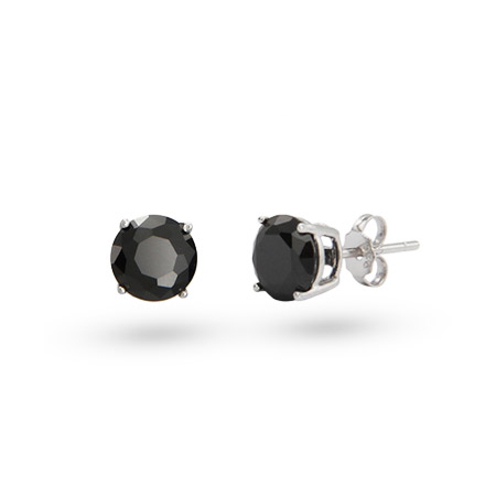 Sterling Silver 6mm Round Black CZ Studs