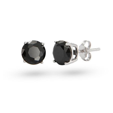 Sterling Silver 8mm Round Black CZ Studs