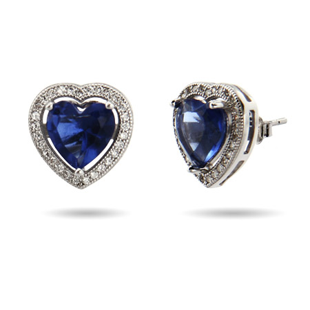 Sterling Silver Exquisite Micro CZ and Sapphire Heart Earrings