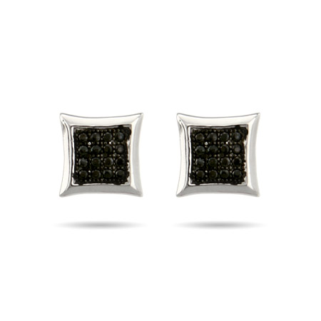 Sparkling Micropave Black CZ Square Stud Earrings