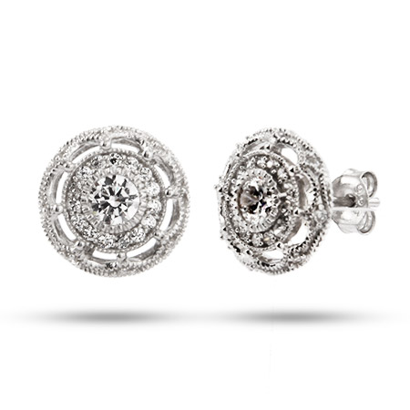 Esmerelda's Vintage Flower Design CZ Stud Earrings