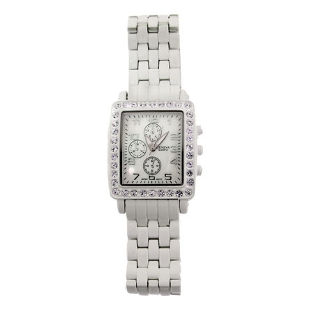 Designer Inspired White Basket Weave Watch with Crystal Face