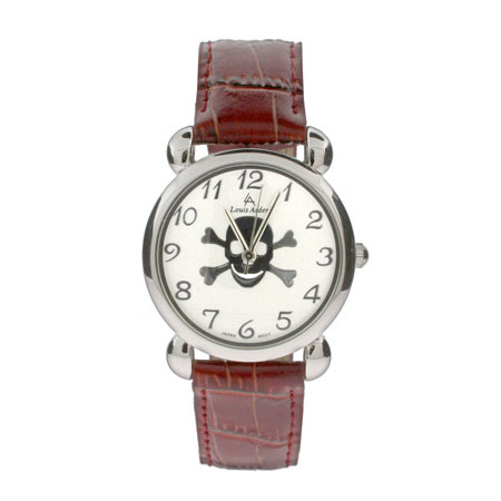 Skull and Crossbones Watch with Brown Leather Band