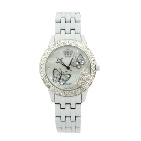Designer Inspired White Basketweave Butterfly Watch