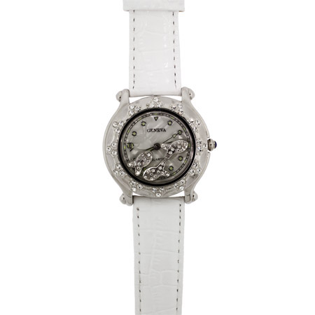 Chopard Inspired CZ Floating Fish White Fashion Watch