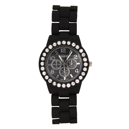 Designer Inspired Black Silicone Watch with CZ Border