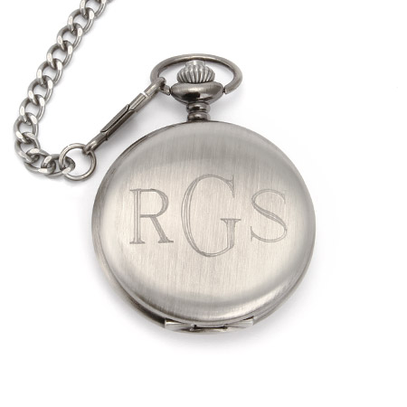 Treasured Times Collection by Eve Brushed Finish Engravable Pocket Watch