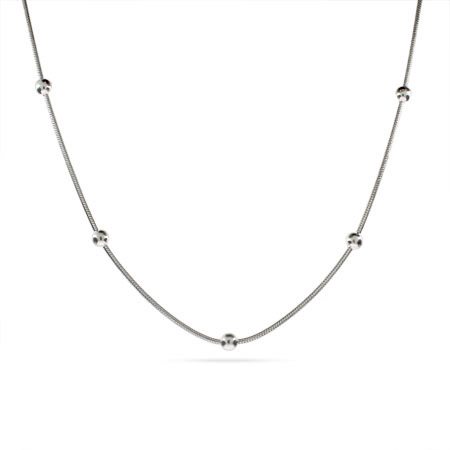 Beaded Snake Chain Sterling Silver Necklace