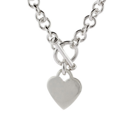Tiffany Style Sterling Silver Heart Tag Necklace
