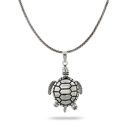 Sterling Silver Bali Chain and Turtle Necklace