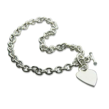 Tiffany Style Heavy Gauge Silver Heart Tag Necklace