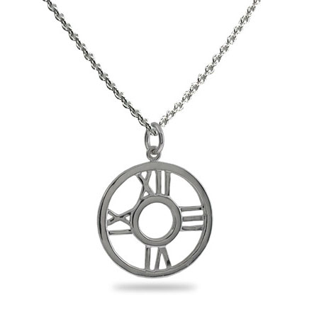 Tiffany Inspired Atlas Style Round Pendant Necklace