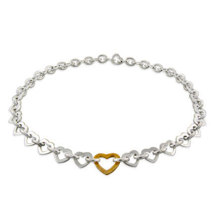 Tiffany Inspired Silver Heart Link Necklace With Gold