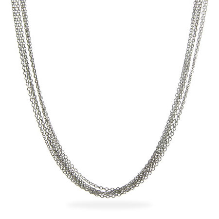 Sterling Silver Layered Italian Multi Strand Chains Necklace