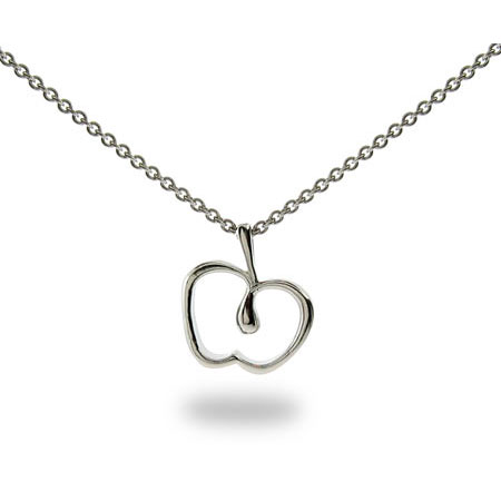 Tiffany Inspired Sterling Silver Apple Pendant