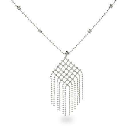 Tiffany Inspired Beaded Fringe Chandelier Necklace