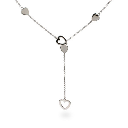 Tiffany Inspired Heart Link Lariat Sterling Silver Necklace